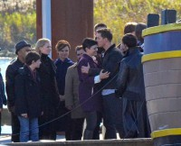 Josh Dallas, Ginnifer Goodwin, Jennifer Morrison, Colin O'Donoghue and Michael Raymond-James film scenes for 'Once Upon A Time' in Richmond