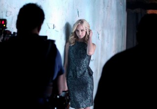 Vampire Diaries Season 5: Behind-the-Scenes Photo of Candice Accola as Sexy Caroline Forbes