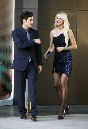 Photo of Taylor Momsen & her friend actor  Penn Badgley - At work
