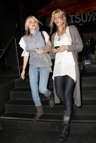 Aly and AJ Michalka of 78Violet dress down for a night out at Katsuya