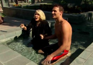 Shirtless Ryan Lochte Frolics in a Fountain With a New Blonde! (VIDEO)
