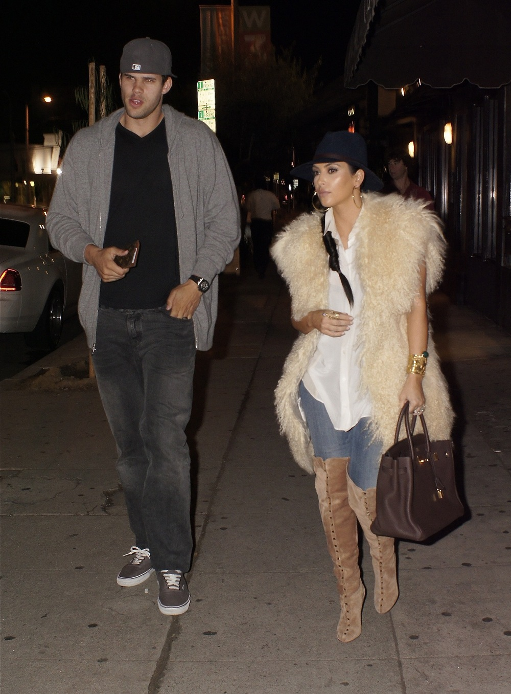 Kim Kardashian and Kris Humphries exit from Izakaya Restaurant on Third Street in Los Angeles, CA